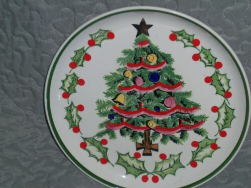 """Vintage Geo Z Lefton Hand Painted Christmas Plate 8.5"""" 1950's Collectible EC"""
