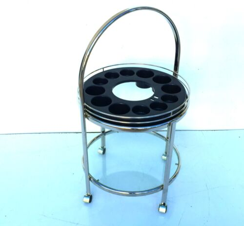 mid century modern 1970s chrome circle bar cart trolley tea retro vintage