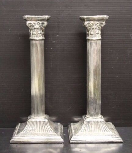 Pair of Antique Italian Silver / Silverplate Corinthian Column Candlesticks 8.5""