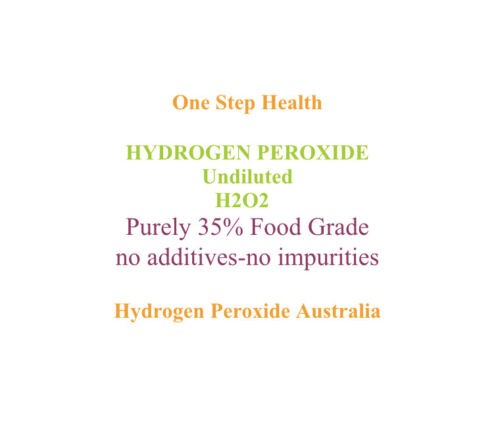 HYDROGEN PEROXIDE PURE FOOD GRADE( 35-ONESTEPHEALTH BRAND ) 12% H2O2 500ml <br/> NO TOXIC STABILISERS AVAILABLE IN ALL % 3,6,12....