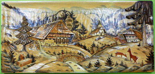 Black Forest Carved Wood  Panel   Mountain Village 30 x 14 inches