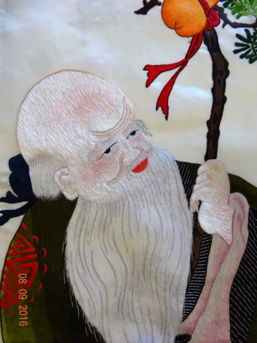 Handwoven Silk Chinese Embroidery - Long Life Elder (73 cm x 120 cm) #1