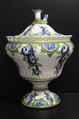 """Large Hand Painted Meiselman Imports Soup Tureen / Vase w/ Flower Finial, 14"""""""