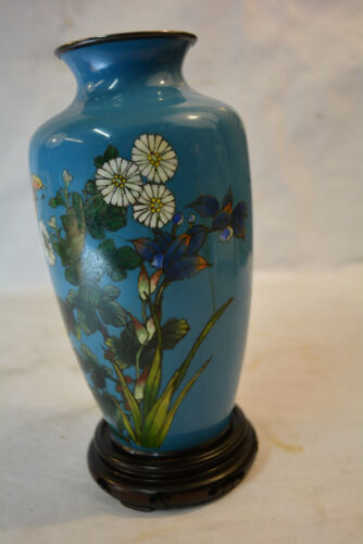 Japanese Meiji butterfly Cloisonne Vase Silver with sky blue Enamel interior
