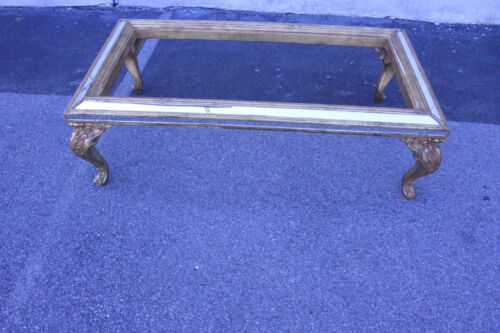 Gorgeous Italian Mirrored Carved Coffee Table with Gold Leaf