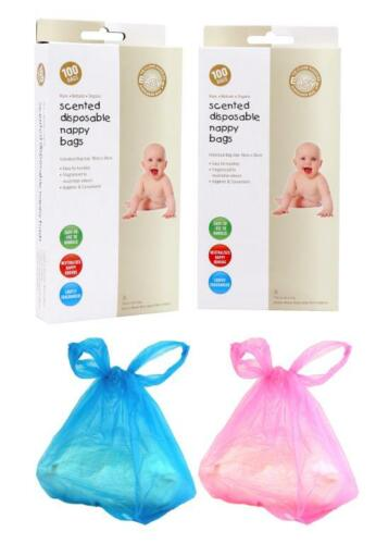 Pack of 100 Scented Disposable Nappy Bags Black Baby Bag Nursery When Out