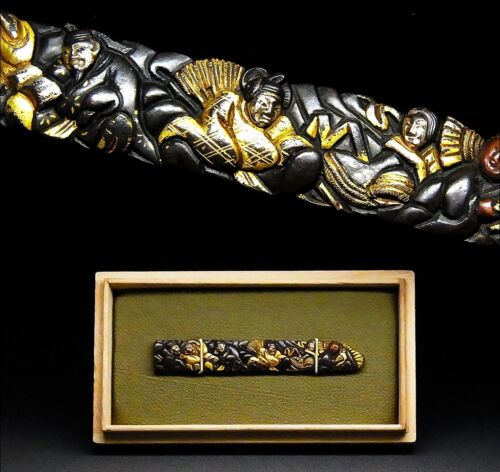 "RARE KOZUKA 18-19th C Japanese Antique Koshirae fitting ""ROKKASEN Poets"" d237"