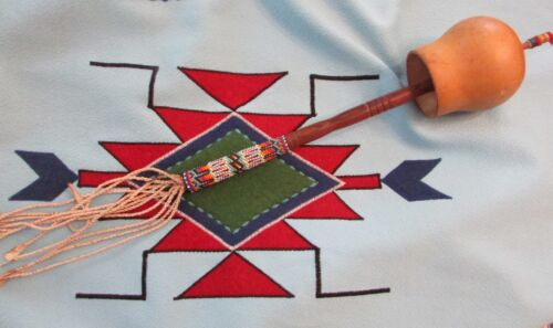 OLD PEYOTE  RATTLE southern plains with beautiful gourd stitch beading