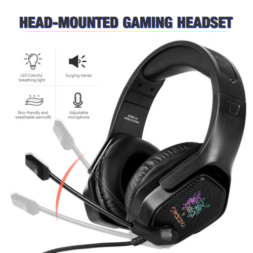 3.5mm Gaming Headset MIC LED Headphones for PC Laptop PS4 PS5 Slim Pro Xbox One
