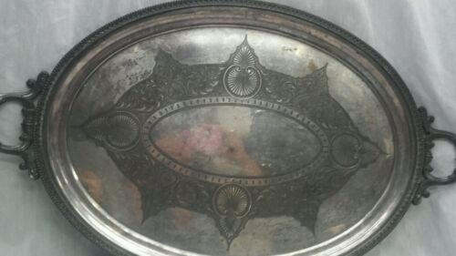 Amazing antique Rogers & Smith Co.New Haven large silverplate tray 31 1/2 inches