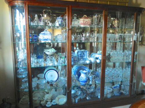 """Victorian Display Cabinet Case 115"""" Long 88"""" Tall with Curved Glass Wood Frame"""