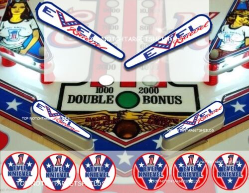 Top Holiday Gifts EVEL KNIEVEL Pinball Machine Cushioned (6) Target (2) Flipper Protectors