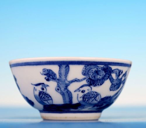 Old Exquisite Chinese Handmade Blue and White Porcelain Bowl Signed KangXi ZS11