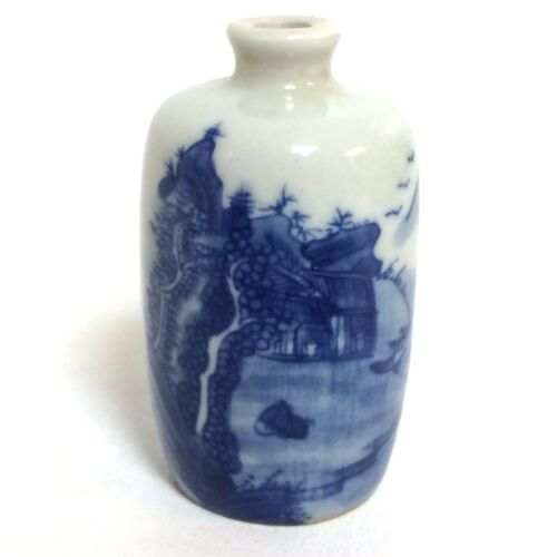 Antique Chinese Porcelain Snuff Bottle With Mountain Blue Artemisia leaf mark