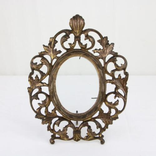 """Antique Gilt Oval Picture Frame Victorian 4.75"""" Ornate w/ Glass Bronze Brass"""