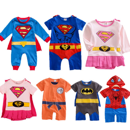Infants Boys Girls Baby Super Hero Romper Outfit Suit Party Fancy Dress Costume