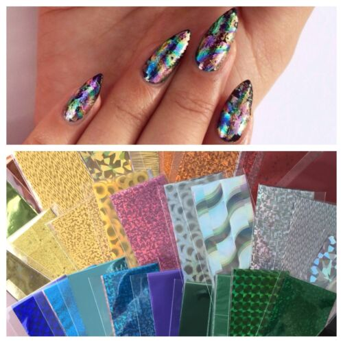 Nail Art Foil Metallic Holographic Solid Colors & Designs 13 inch x 1.65 inch