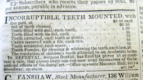 1834 NY newspaper w front page DENTIST AD listing PRICES for his dental services