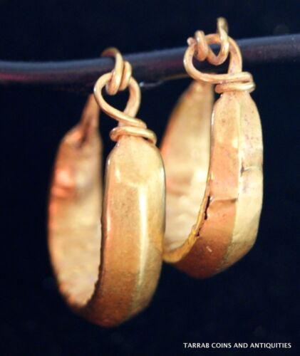 ANCIENT ROMAN-BYZANTINE PAIR OF FLATTENED GOLD WIRE EARRINGS! NICE!