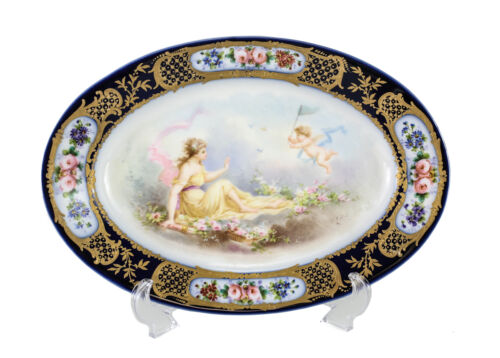 Sevres France Hand Painted Porcelain Oval Dish, c1900. Signed A. Collol