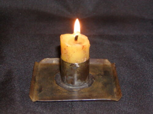 Primitive Early 18th Century Style Square Tin Candle Holder
