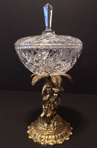 Vintage Clear Cut Crystal Glass Lidded Compote Candy Dish With Cherub Base