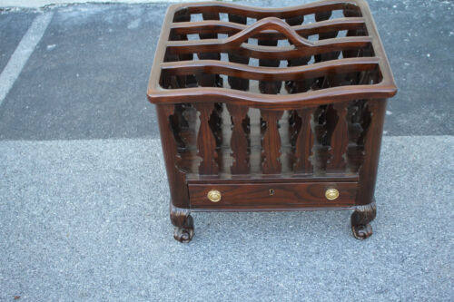 Delightful Solid Rosewood Carved Magazine Rack, Canterbury With Drawer