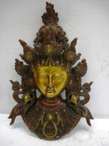 LARGE - BUDDHA Thai WALL Plaque - BRASS - Buddhism Meditation Tibet Tibetan