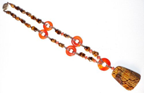 Fine Antique Chinese Carved Monkey Tigereye Coral Carnelian Silver Necklace