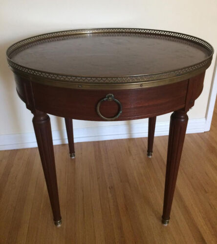 Henredon Heritage Hollywood Regency Louis XVI Wood Bouillotte Table Leather Top