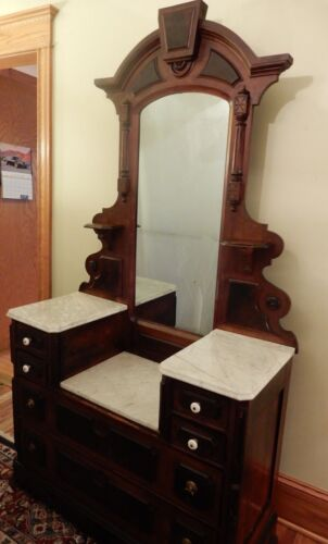 """Antique Beautiful Victorian East Lake Walnut Marble Top Dresser with Mirror 81"""""""