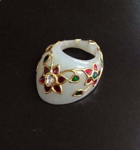 ANTIQUE MUGHAL STYLE  JADE-GOLD-PRECIOUS GEMS ARCHER'S THUMB RING COLLECTIABLE