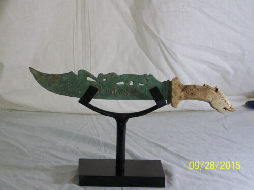 Chinese Qing Dy Hand Carved Jade Handle Sword Knife Dagger