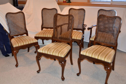 Ethan Allen Georgian Court set of 6 Cherry Caned Back Dining Chairs 6200