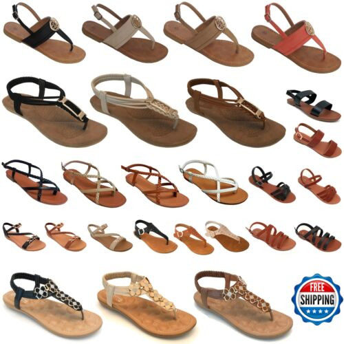 Brand New Women Gladiator Sandals Shoes Thong Flip Flops Flat Strap Strappy Toe