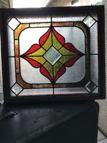 Stained Glass Windows Leaded Glass Antique Vintage Old Art Deco Wood FRAME