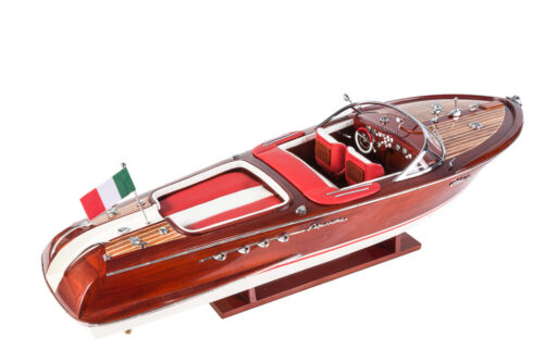 RIVA AQUARAMA 70cm Handcrafted Wooden Model Speed Boat Ship Gift Decoration