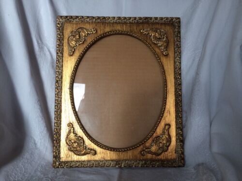 Vintage Gold Gilt and Gusso Picture Frame Oval 8 x 10 With Clear glass