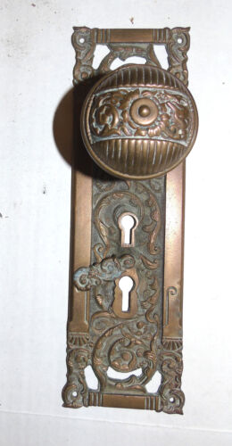 Beautiful Brass Victorian Ornate entry Door Knob plate set Antique Large