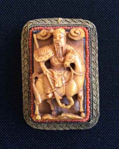 Fine Antique Chinese Carved Warrior Brooch 1800s