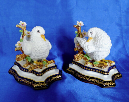 Exquisite Pair of Perfect French Porcelain Doves with Sevres Marks