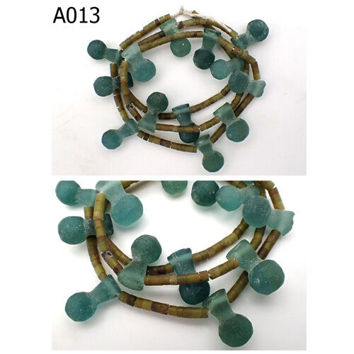Ancient Green Roman Glass Frosted BALL DROPLETS Shape & Jade Beads Strand #A13