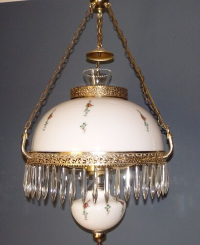 LG Vintage HAND PAINTED Gone With The Wind GWTW HANGING ELECTRIC LAMP w Prisms