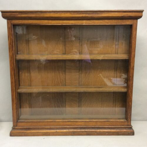 """Oak Glass Faced Hanging Wall Display Cabinet 24 3/4""""x 24"""""""