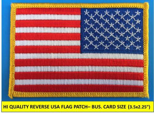 "REVERSE USA AMERICAN FLAG EMBROIDERED PATCH IRON-ON SEW-ON GOLD BORDER(3½ x 2¼"")Patches - 113337"