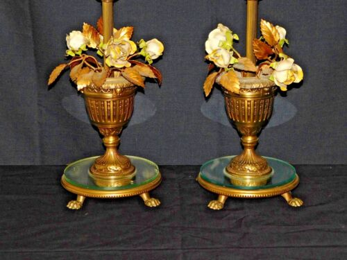 PAIR Antique Mirrored Claw Footed Italian Chippy Tole Rose Bouquet Table Lamps