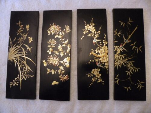 zbx214 LOT OF 4 JAPANESE LACQUER URUSHI HAND PAINTED PANELS Maki-e  4 x 10 3/4""