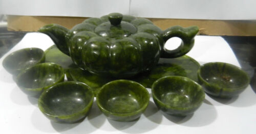 Chinese-green jade-hand-carved-statues-Teapot-amp-  one set