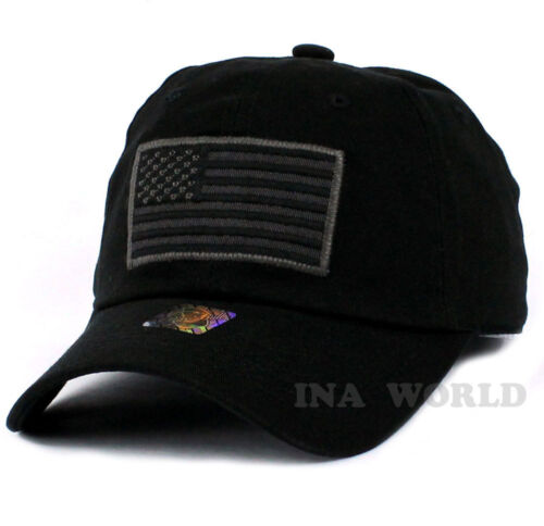 4b2f59c0c3569 USA American Flag hat Tactical Operator Military Army Cotton Baseball cap-  Black