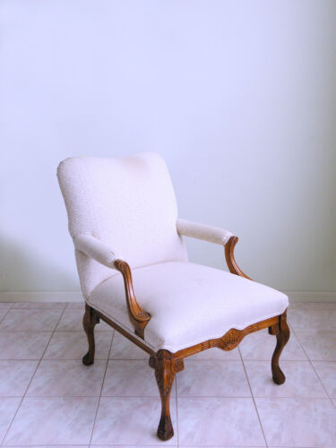 vtg carved FRENCH PROVINCIAL clawfoot LOUIS XV cabriolet mod bergere arm chair